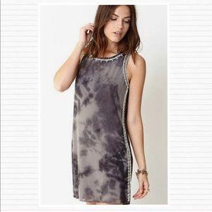 Gray Tie Dye Beaded Embellished Mini Shift Dress